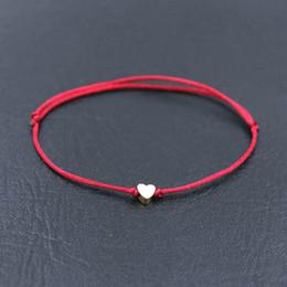 Heart Shaped Chains For Couples Australia - BPPCCR Handmade Stainless Steel Love Heart Shape Charm Bracelet Thin Red Rope Thread String Bracelets For Men Women Couples