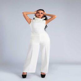 $enCountryForm.capitalKeyWord NZ - Women's jumpsuit new 2019 summer celebrity party white lotus leaf collar speaker jumpsuit sexy fashion wholesale