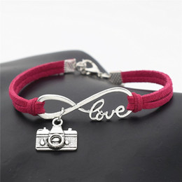 Wholesale Handmade Rose Red Leather Suede Rope Cuff Bracelet Bangles for Women Men Fashion Infinity Love Camera Photograph Lover Unisex Jewelry Gift