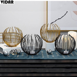 iron stands UK - Vidar Nordic Style Iron Candlestick Stand Candle Holder for Lantern Wedding Holiday Gift Decorate Candle light Dinner Sober Bar