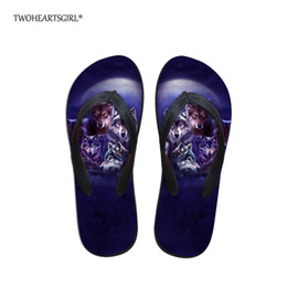 $enCountryForm.capitalKeyWord Australia - Twoheartsgirl Wolf Flip Flops Women Sandals Summer Slippers Print Beach Flip Flops for Women's Fashion Casual Ladies Flats Shoes