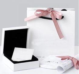 Venta al por mayor de La alta calidad original blanca de papel Logotipo de joyería bolsa de mano retícula para Pandora collar de la pulsera joyería de los encantos pulsera de pandorGift Bolsas
