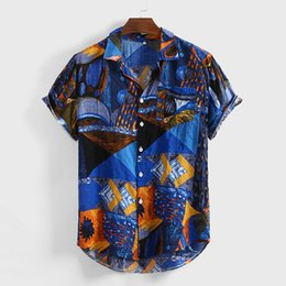$enCountryForm.capitalKeyWord Australia - Fashion Men's shirts Vintage Ethnic Printed Loose Short Sleeve shirt men Casual Buttons Loose Male Blouses Top camisas masculina