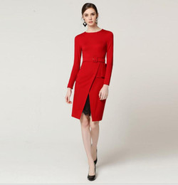 sexy red work dress UK - ins hot wholesale Paris Occident style 2019 runway ins hot Crew neck Long sleeves Sashes sexy fashion Split lace dress