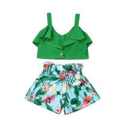 UK Summer Kids Baby Girl Strap Vest Crop Tops Flower Shorts Dress Outfit Clothes