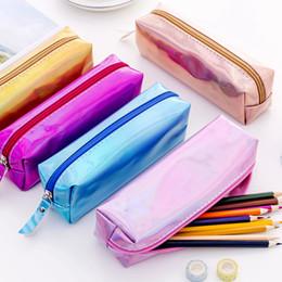 $enCountryForm.capitalKeyWord UK - Iridescent Laser School Pencil Case For Girls Cute Pen Bag Pencil Box Stationery Pouch Bts Office School Supplies Zakka