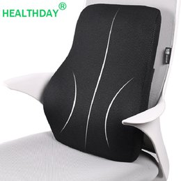 ergonomic chair office Australia - Ergonomic Design Back Pillow for Chair Waist Car Seat Cushion Memory Foam Office Chair Wheelchair Black with Straps Back Pillow