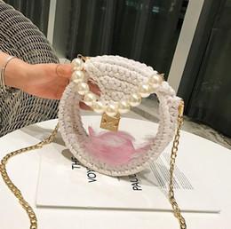 $enCountryForm.capitalKeyWord NZ - Factory wholesale women handbag sweet romantic transparent woven bag summer new acrylic chain bag hand-woven crochet Pearl chain bag