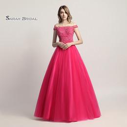 $enCountryForm.capitalKeyWord Australia - Ball Gown Beads Fuchsia Tulle Prom Party Dress Elegant Off Shoulder Vestidos De Festa Evening Occasion Backless Quinceanera Gown LX427