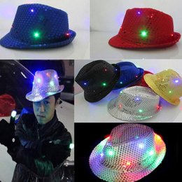 $enCountryForm.capitalKeyWord Australia - Christmas Party Decoration Flashing Hats Light Up LED Fedora Trilby Sequin Caps Glow Party Supplies Dancing Hats