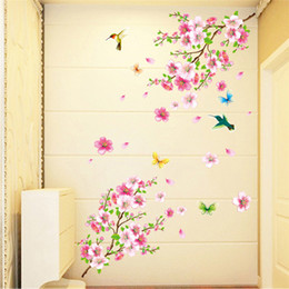 colorful tree wall art 2019 - Modern Pattern Large Cherry Blossom Flower Butterfly Home Decoration Colorful Tree Wall Stickers Art Decal Home Decor ch