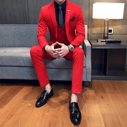 Stage Suits Australia - Mens Wedding Suits 2018 Red Suits Mens Oranje Pak Heren Royal Blue Party DJ Stage Costume Terno Slim Fit White Tuxedo