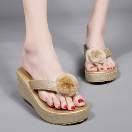 stylish sandals NZ - Women's Shiny Sandals Slippers Platform Wedge Heels Stylish and Comfortable Grit Material