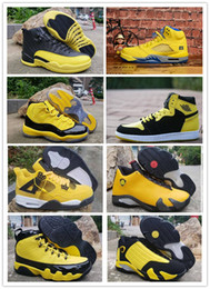 11 12 boys shoes online shopping - Retro Big Kid Mens Basketball Shoes Bumblebee Yellow Black Trainers Sports Sneakers Reverse Ferrary Jumpman des chaussures