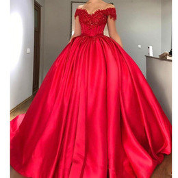 $enCountryForm.capitalKeyWord Australia - Cheap Red Off the Shoulder Puffy Evening Dresses Lace Appliques Sequined Draped Skirt Prom Gown Sweep Train Satin Sweet 15 Dress