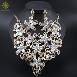 $enCountryForm.capitalKeyWord Australia - Fashion African Beads Jewelry Sets Flower Pendant Necklace Earrings Set Crystal Wedding Bridal Pendant Dress Accessories