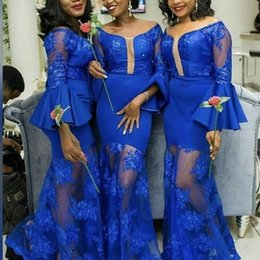 Black sleeve Bridesmaids dress online shopping - Royal Blue Bridesmaid Dresses South African Girls Vintage Long Sleeve Off Shoulder Appliques Ruffles Long Wedding Guest Wear Plus Size