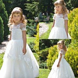 White Communion Dresses Short Australia - Lovely White Flower Girl Dresses For Weddings Short Sleeve Lace Appliques Birthday Communion Dress Girls Pageant Gowns Cheap