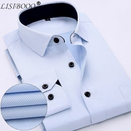 Black White Striped Dress Sleeves Australia - New Fashion Classic Shirts Men Black Collar White Striped Dress Shirts Long Sleeve Turn-down Collar Regular Fit #575965