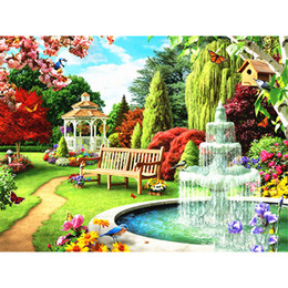hot paintings Australia - New Hot 5D DIY Diamond Painting Garden Landscape Mosaic Small Embroidery Charming Scenic Full Square Round Drill for Home Decor