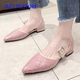 $enCountryForm.capitalKeyWord NZ - JAZZPOSTURE womens shoes fashion Sequin women Flat shoes pointed toe flat heel Buckle women ballet flats y522