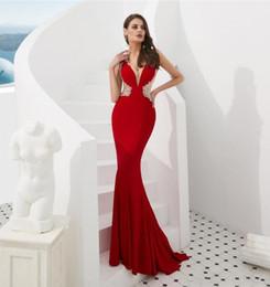 541ac7438df9b Sexy Prom Dresses Deep V-neck Pretend Transparent Beaded Crystal Zipper  Evening Dresses Beauty Dresses Hot Sale