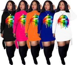 Bandage evening dress online shopping - Women Fall Winter lip print mini dresses Casual long sleeve bodycon party evening club bandage dress fashion plus size women clothing