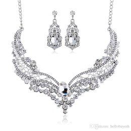 $enCountryForm.capitalKeyWord Australia - Bridal Jewelry Drop Earrings European and American Popular Big Brand Alloy Full Diamond Sets Necklace For Party Wedding 2018