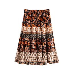 jupe clothing 2019 - Vintage Floral Print Skirt Boho Chic Beach Midi Skirts Women Clothing 2019 New Summer Holiday bohemian Skirt Casual Fema
