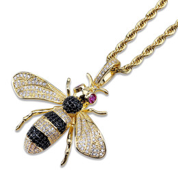cz chains Australia - Iced Out Pendant Hip Hop Jewelry Micropave Simulated Diamond CZ Bling Bee Pendant Necklace