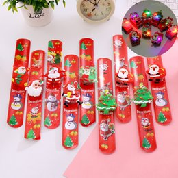 Santa wriStbandS online shopping - LED Christmas Bracelet Luminous Clap Ring Glowing Bangles Wristbands Santa Snowman Wrist Clap Ring Christmas Toy Xmas Ornament GGA2898