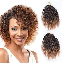 """curly ombre crochet hair 2019 - Pack of 3 Marlybob Crochet Braids Hair Ombre Afro Kinky Curly Braiding Hair Extensions for Girl Women(8"""", T1b 27#)"""