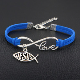 $enCountryForm.capitalKeyWord NZ - Hot Single Layer Dark Blue Leather Suede Summer Bracelet Bangles Infinity Love Fish Jesus Christian Charm Wedding Jewelry For Women Men Gift