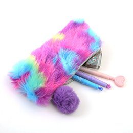 Girls school pencil baG new online shopping - Rainbow Pencil Case New Cute Multi Color Women Girls School Supplies Faux Rabbit Fur Ball Makeup Storage Pompom Cosmetic Bag