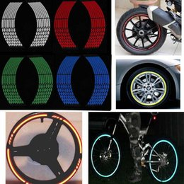 Wheels stickers online shopping - Hight Quality Motorcycle Styling Wheel Rim Stripe Reflective Decal Stickers Safety Reflector Car Stickers BBA204