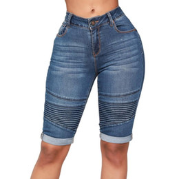 Wholesale high rise jeans for sale - Group buy Skinny Short Jeans Woman High Rise Elastic Denim Shorts Female Summer Knee Length Curvy Stretch Short Jeans Pants