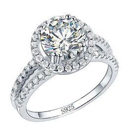 $enCountryForm.capitalKeyWord Australia - YHAMNI Fashion Jewelry Ring Have S925 Stamp Real 925 Sterling Silver Ring Set 2 Carat CZ Diamond Wedding Rings for Women 510