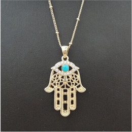 hand fatima necklace pendant Australia - Hamsa Fatima Hand Pendant Necklaces Evil Eye Charm Inlaid Turquoise Necklace for Women Men Bohemian Statement Jewelry Accessories DHL