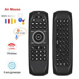 air mouse android ir Canada - G7V Pro Gyroscope 2.4G Wireless Air Mouse IR Learning Smart Voice Remote Control Russian Mini keyboard For Android TV BOX VS MX3
