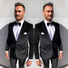 Discount white suit black pants - 2019 Formal Tuxedos Suits Black One Button Bridegroom Mens Best Mens Wedding Tuxedos Two Pieces Blazers Suts(Jacket+Pant