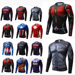 superhero shirts wholesale Australia - Mens New Compression Shirt Superhero man Capitan America Iron Man 18 Styles Quick Dry Shirt Brand Clothing Fitness Men Long Sleeve T-shirt #