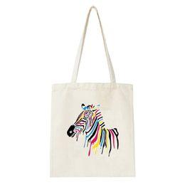 $enCountryForm.capitalKeyWord Australia - Canvas bag Women Harajuku Colorful Horse Print Shopping Bag Shcool Trval Tote Clothes Handbag Female Ladies Bags foldable