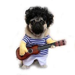 Costume de guitare pour chien Chien Chat drôle Costume Chiens Chats Pet Drôle Vêtements de fête Drôle chien Joueur de guitare Cosplay Costume RRA343