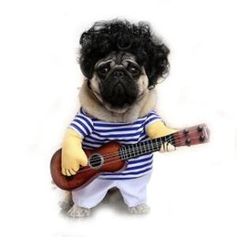 China Pet Guitar Costume Dog Cat Funny Costume Dogs Cats Pet Funny Party Clothes Funny dog Guitar Player Cosplay Costume RRA343 supplier guitar clothes suppliers