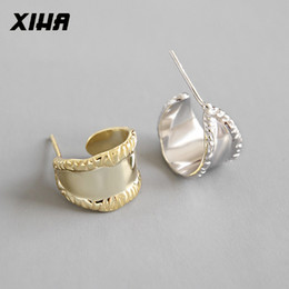 $enCountryForm.capitalKeyWord Australia - wholesale Genuine Pure 925 Sterling Silver Earring INS Wide Smooth Silver Stud Earring Korea Style Fashion Ladies Minimalist Jewelry