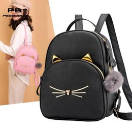 $enCountryForm.capitalKeyWord Australia - Fashion Leather Backpack Cartoon Cat Square Satchel Mini Backpacks For Women Female Backpack Bagpack 2019 Mochilas Feminina New Y19061204