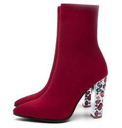 Chinese  2019 New designer diamond winter shoes colorful crystal studded high heels slip on wine red ankle boots for women manufacturers