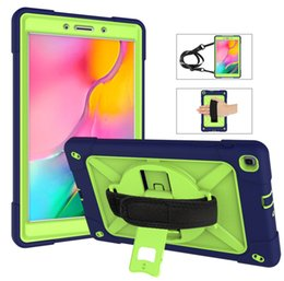 Discount pink kid tablet - Tablet Case For Samsung Galaxy Tab A 8.0 2019 SM-T290 T295 Kids Shockproof Heavy Duty Silicone Cover Hand Strap & Neck S