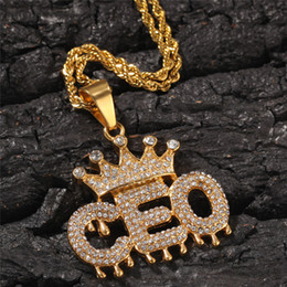 14k crown pendant Australia - Stainless Steel Golden Droplets Crown Letter CEO Pendant Necklace Iced Out Rhinestone Mens Hip Hop Jewelry Gift