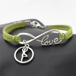 $enCountryForm.capitalKeyWord NZ - 2019 New Design Silver Infinity Love Gymnastics Yoga Round Pendant Bracelets Luxury Green Leather Suede Rope Women Men Jewelry Gift pulseira
